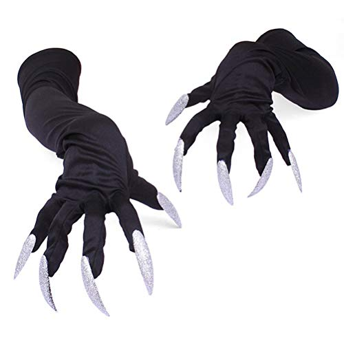 Halloween Cat Claw Nails (Halloween Costume Paw Gloves Cosplay Props Party Costume Long Nails Fingernails Clown Gloves Cat Claws Halloween Prop Devil Ghost Witch Finger Gloves Wolf Claws Gloves Role Play Dress up Gloves)