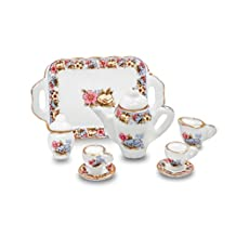 1/12 Scales Porcelain Miniature Tea Set with Tray Dollhouse Barbie Furniture - Cup,Saucers,Cream & Sugar and Lids