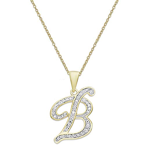 (Victoria Townsend 925 Sterling Silver 18k Gold Plate Script Initial Pendant Necklace for Women 18