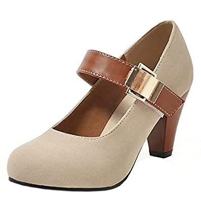 AbbyAnne Women Classic Spring Shoes Ankle Strap Cone Heels Pumps Buckle Party Heels Shoes Ancient Solid Beige Size 34