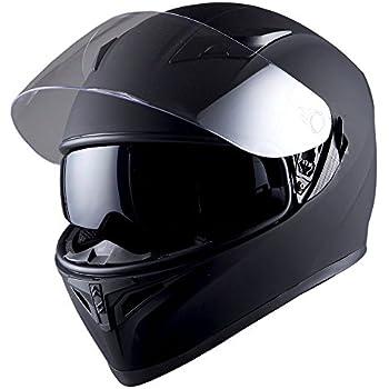 1STorm Motorcycle Street Bike Dual Visor/Sun Visor Full Face Helmet Mechanic Matt Black, Size Medium (55-56 CM,21.7/22.0 Inch)