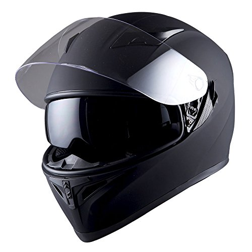 1STorm Motorcycle Street Bike Dual Visor/Sun Visor Full Face Helmet Mechanic Matt Black, Size Large (57-58 CM,22.4/22.8 Inch) ()
