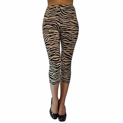 Luxury Divas Black Tan Zebra Print Capri Length Legging Footless Tights