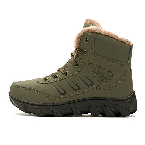 in Gomma Mens alla Uomo Boots Army Green L Stivaletti per Caviglia Winter in Fodera Pelliccia RUN Snow nP6YOTW