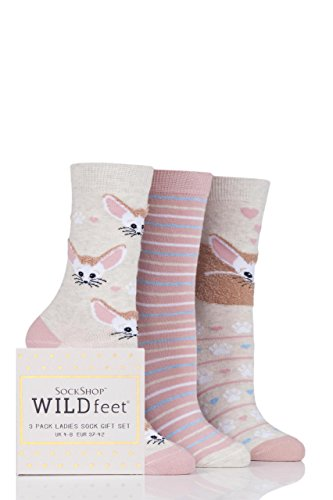 Ladies 3 Pair Sockshop Wild Feet Fennec Fox Cotton Socks In Gift Box   Assorted 6 10