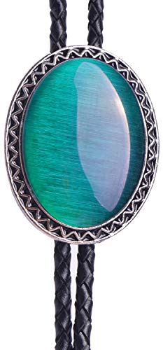 Yuanmo Bolo Tie with Natural Cat Eye Emerald and Turquoise Stone Style Genuine and Cowhide Rope