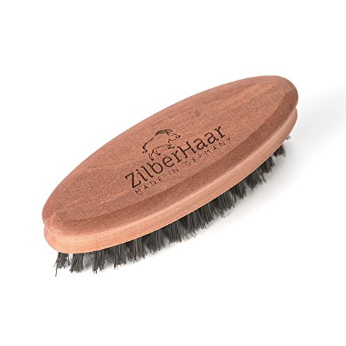 ZilberHaar Soft Pocket Beard Brush - 100% Boar Bristles with Firm Natural Hair - Best Beard and Skin Care for Men and Beard Grooming - Pocket Size and Travel Friendly - German Quality