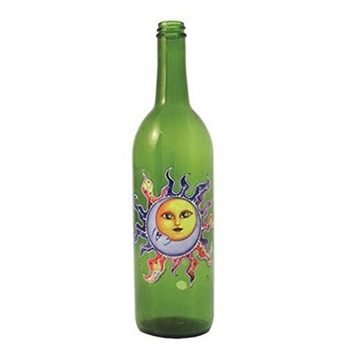 WILDBERRY Green Glass Incense Smoking Bottle with SUN_MOON design, Plus 10 Sticks Free AMBER - Smoking Incense Bottle