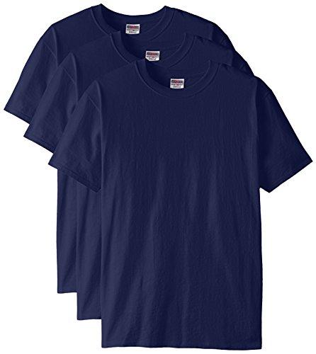 Jerzees Men's Black Heather Adult Short Sleeve Tee 3 Pack, Navy, X-Large ()