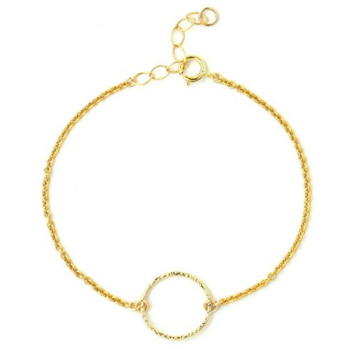 Triple Circle Link Chain - BENIQUE Dainty Bracelet For Women Girls, 14K Gold Filled Super Fine Chain, Simulated Freshwater Pearls, AAA CZ, Layering Essentials, Adjustable, Gifts for Her, Made in USA, 6.5