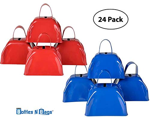 "24 3"" Metal Cowbells 12 Red and 12 Blue Perfect for Holiday Parties and New Year's Eve by Bottles N Bags 41Nof59kDcL"