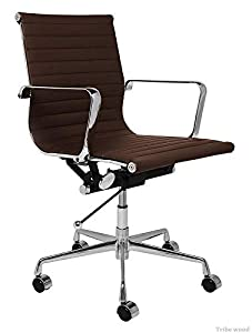 Tribe wood Funiture - Medium Back Revolving Office Chair with Armrest Support Comes with leatherite Finish(Brown)