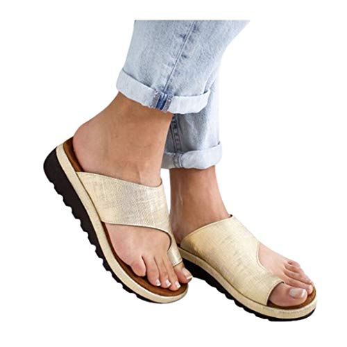 2019 New Women Comfy Platform Toe Ring Wedge Sandals Shoes Summer Beach Travel Shoes Comfortable Flip Flop Shoes ()