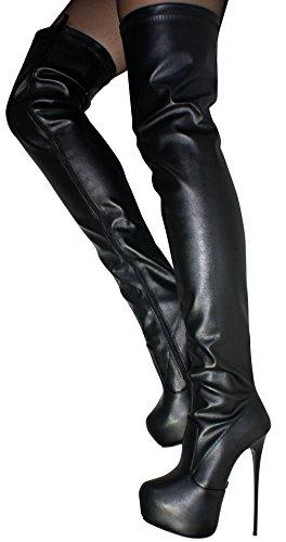 Nero donna Stivali Plateau Overknees High Heels Erogance 36 C0vqRwf