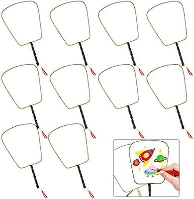 Joyibay 10 Piezas Ventilador Circular Chino Dibujo en Blanco Ventilador de Pintura DIY Ventilador de Mano para niño: Amazon.es: Deportes y aire libre