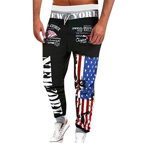 Yucode Mens Joggers Sport Flag Print Casual Drawstring for sale  Delivered anywhere in USA