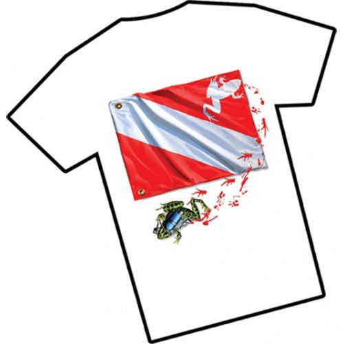 Amphibious Outfitters Frog Flag Scuba T-Shirt Medium White