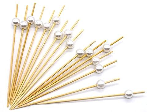 PuTwo Cocktail Picks Toothpicks Handmade Bamboo Picks White Pearl Food Sticks Party Supplies - 100 - Decorative Toothpicks