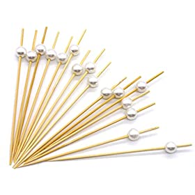 PuTwo Cocktail Picks Handmade Bamboo Toothpicks 4.7″ White Pearl in 100 Counts