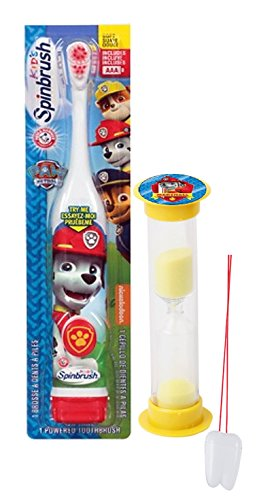 "Paw Patrol ""Let's Fire It Up"" Marshall Inspired 2pc Oral Hygiene Set! Includes Turbo Powered Spin Toothbrush & Marshall Brushing Timer! Plus Bonus ""Remember To Brush"" Visual Aid!"