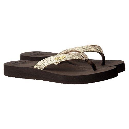Reef de las mujeres Estrella Cojín Sassy Flip Flop Sandal - Negro/plata, Marrón/blanco Marrón/blanco