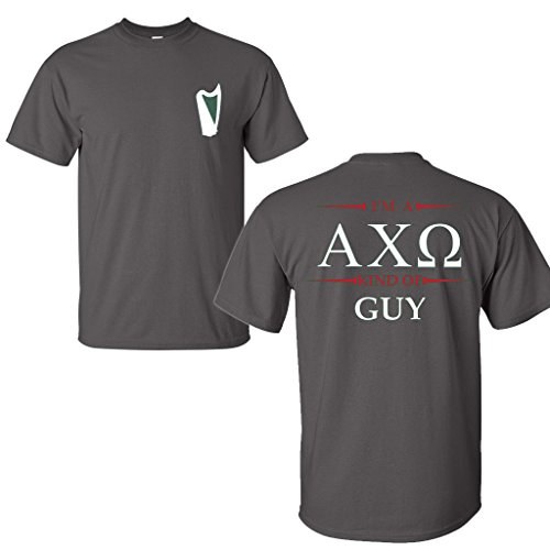 VictoryStore Alpha Chi Omega Boyfriend Shirt-Im a AXO Kind Of Guy (Large, Charcoal) (Chi Omega Tank Alpha)