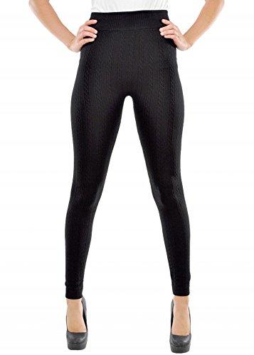 Ladies Winter Fashion Cable Knit Fleece Lined Fashion Leggings
