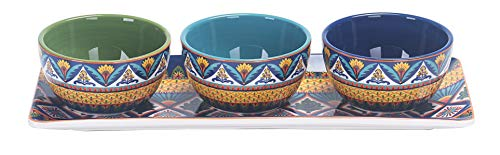 - Bico Havana Ceramic Dipping Bowl Set (13oz bowls with 14 inches platter), for Sauce, Nachos, Snacks, Microwave & Dishwasher Safe, House Warming Birthday Anniversary Gift