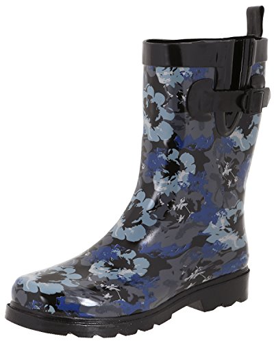 Capelli New York Ladies Wash Out Printed Rain Boots Black Combo 6