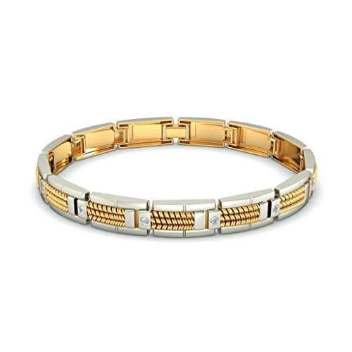 Or jaune 18K, 0.384CT TW Round-cut-diamond (Ij| SI) Identification-bracelets