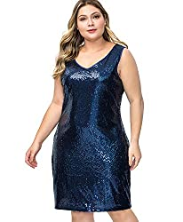 Plus Size V Neck Sleeveless Blue Cocktail Loose Fit Dress