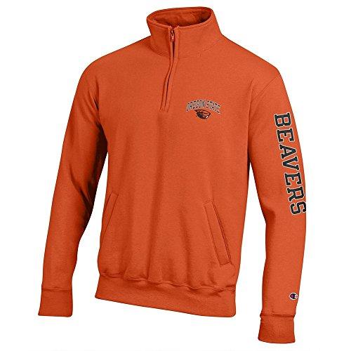 Elite Fan Shop Oregon State Beavers Quarter Zip Sweatshirt Letterman Orange - XL