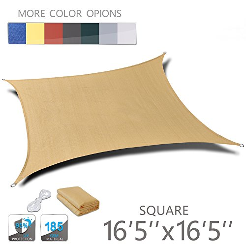Love Story 16 5 x 16 5 Square Sand UV Block Sun Shade Sail Perfect for Outdoor Patio Garden