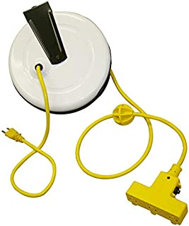 "product image for SafTLite 9"" Steel Reel, Triple Outlet, Power Supply, Rated 10 Amps, 30Ft 16/3 Sjt Cord 2630-3000"