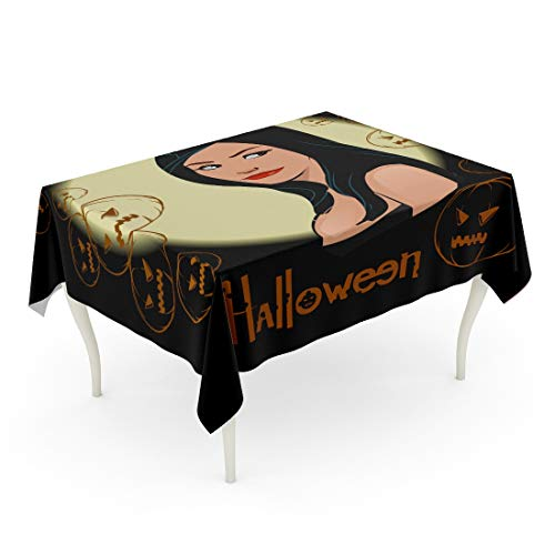 (Tarolo Rectangle Tablecloth 60 x 84 Inch Attractive of Sexy Witch Back Beautiful Black Body Brunette Table)