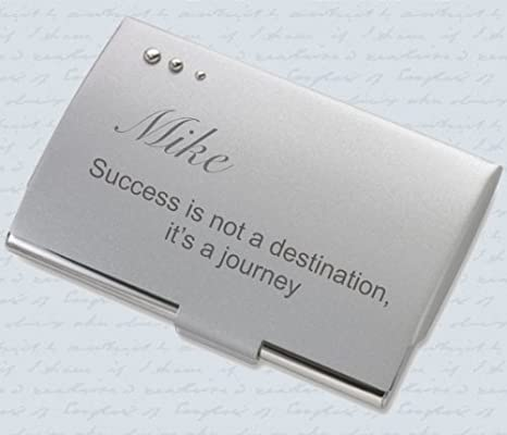 personalized silver contemporary business card case holder engraved free - Personalized Business Card Case
