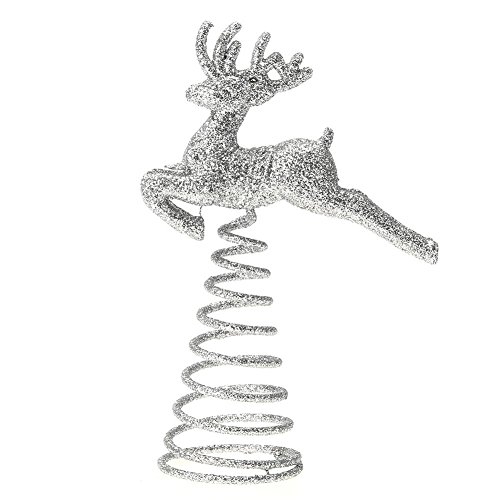 Whitelotous Christmas Tree Top Running Deer with Spring Xmas Decor Accessories Ornament Topper (Silvery) (Deer Tree Christmas Topper)