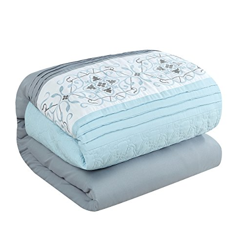 Chic Home Emily 20 Piece Comforter Set Color Block Floral Embroidered Bag Bedding, Queen Aqua Blue 7