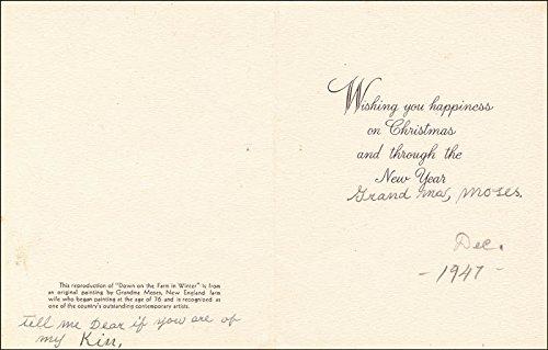 Grandma Moses - Christmas/Holiday Card Signed 12/1947 (Grandma Moses Christmas Cards)