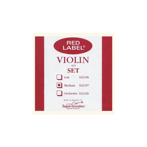 Super Sensitive 2107F Red Label Medium Gauge Violin String Set - E Flat Wound - Nickel - 4/4 from Super Sensitive Musical Strings Co.