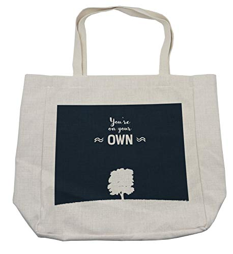 Lunarable Success Shopping Bag, You are on Your Own Writing with Tree on Grass Hill Solitude Graphic, Eco-Friendly Reusable Bag for Groceries Beach and More, 15.5