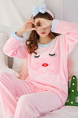 - (Send Hair Band) Thick Autumn Winter Flannel Pajamas Coral Velvet Sweet Lovely Eyelashes Women Girls Home Service Package (# 656 Lashes Pink