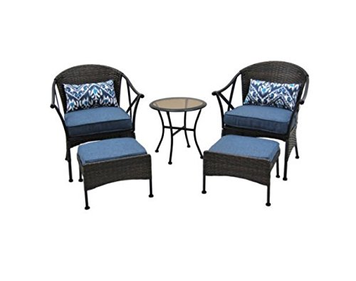 Indoor Outdoor Patio Furniture Wicker Set with Chairs Table Ottomans | FAST SHIPPING