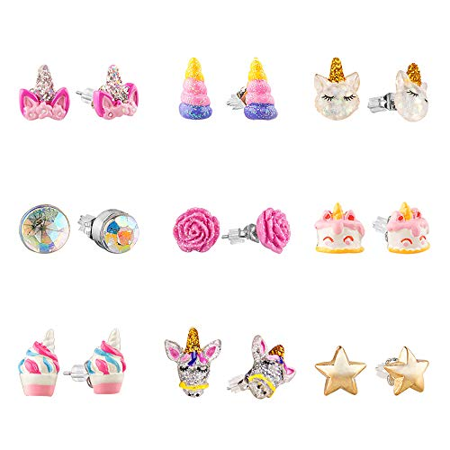 Skywisewin Hypoallergenic Earrings Set Little Girls Children S