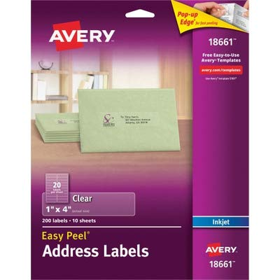 AVERY-DENNISON 18661 Easy Peel Mailing Labels for Inkjet Printers, 1 x 4, Clear, 200/Pack