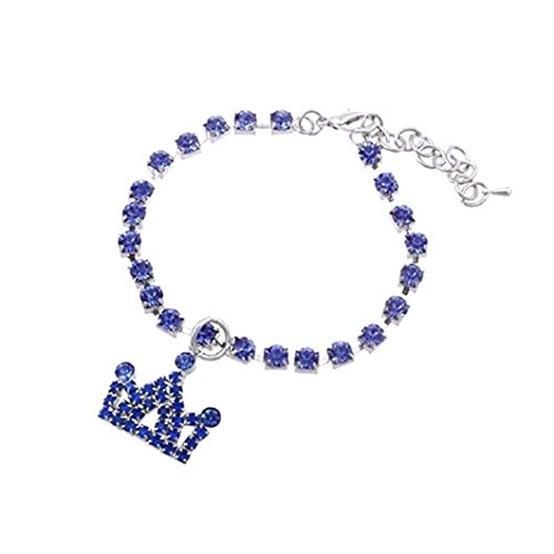 - Unpara Bling Glitter Rhinestone Collars for Pet Dog Chocker Fancy Dog Necklace Harness with Crown Pendant (Blue, Small)