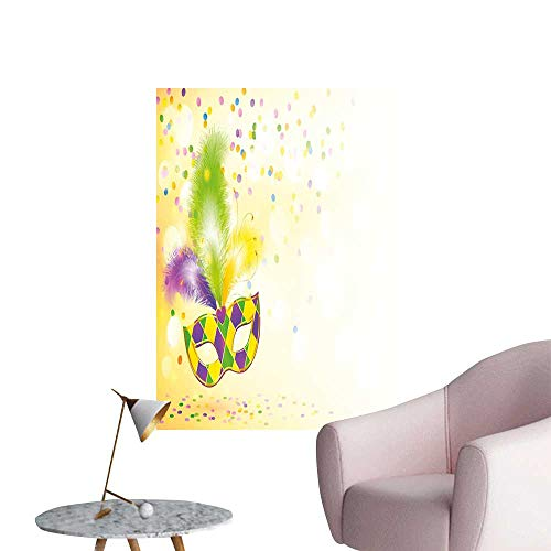Mardi Gras Wall Art Canvas Prints Festival Mask with Decorative Feathers Colorful Dots Confetti Party Living Room Wall Yellow Green Purple W32 x H48]()
