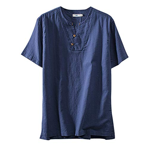 Solid Color Short Sleeve Tops Fashion Mens Cotton Linen Retro T Shirts Blouse Blue