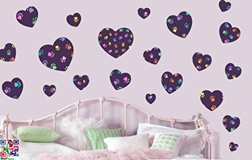 ANIMAL PAW PRINT LOVE HEARTS - - Repositionable Wall Art Vinyl Printed Stickers - EASY PEEL & STICK by Stickers on Your Wall by Stickers on Your Wall