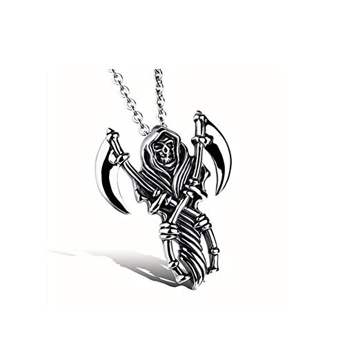 DX.OPK Men Pendant Skeleton Skull Grim Reaper Sickle Titanium Stainless Steel Pendant Necklaces Unique Gift